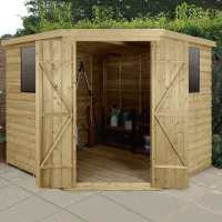 8ft x 8ft Forest Overlap Pressure Treated Wooden Corner Shed (3.4 x 2.8m)
