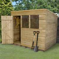 6ft x 8ft Forest Overlap Pent Pressure Treated Wooden Shed (1.88m x 2.39m)