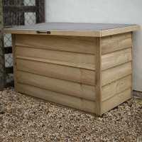 3ft6 x 2ft1 Forest Wooden Garden Storage Chest - Outdoor Patio Storage Box (1.08m x 0.55m)