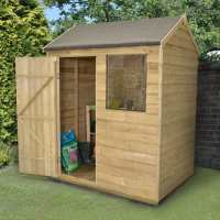 6ft x 4ft Forest Overlap Reverse Apex Pressure Treated Wooden Shed (1.82m x 1.32m)