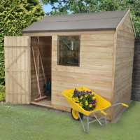 6ft x 8ft Forest Overlap Reverse Apex Pressure Treated Wooden Shed (1.91m x 2.4m)