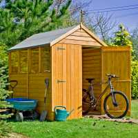 7ft x 5ft Shire Overlap Double Door Wooden Garden Shed with Windows (2.1m x 1.67m)