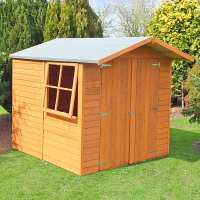 7ft x 7ft Shire Overlap Double Door Wooden Garden Shed with Opening Window (2.2m x 2.33m)