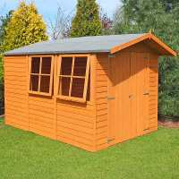 10ft x 7ft Shire Overlap Double Door Wooden Garden Shed with Opening Windows (3.35m x 2.2m)