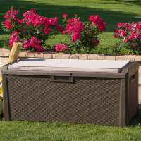 Toomax Large Brown Rattan Effect 550L Plastic Outdoor Garden Waterproof Storage Cushioned Bench