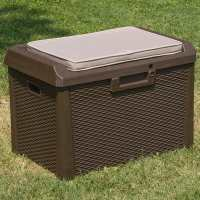 Toomax Brown Rattan Effect 125L Plastic Outdoor Garden Waterproof Storage Cushioned Bench