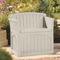 2ft x 2ft (0.78 x 0.53m) Suncast Patio Storage Seat - Plastic Garden Storage