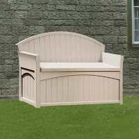 4ft5 x 1ft9 (1.34x0.53m) Suncast Resin Patio Storage Bench - Plastic Garden Storage