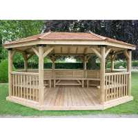 17ftx12ft (5.1x3.6m) Premium Oval Furnished Wooden Garden Gazebo with New England Cedar Roof - Seats up to 22 people