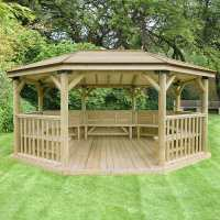 17ftx12ft (5.1x3.6m) Premium Oval Furnished Wooden Garden Gazebo with Timber Roof - Seats up to 22 people