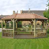 20ftx15ft (6x4.7m) Premium Oval Furnished Wooden Garden Gazebo with New England Cedar Roof - Seats up to 27 people