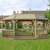 20ftx15ft (6x4.7m) Premium Wooden Furnished Garden Gazebo with Timber Roof - Seats up to 27 people