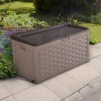 4ft x 2ft Rattan Effect Plastic Patio Storage Box (1.17m x 0.56m)