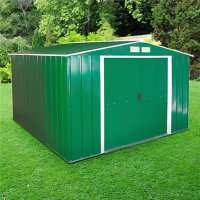 10ft x 10ft Sapphire Apex Green Metal Shed (3.22m x 3.02m)
