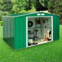 10ft x 8ft Sapphire Apex Green Metal Shed (3.22m x 2.42m)