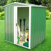 5ft x 4ft Store More Sapphire Apex Green Metal Shed (1.62m x 1.22m)