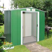 6ft x 4ft Store More Sapphire Apex Green Metal Shed (2.02m x 1.22m)