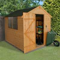 8ft x 6ft Forest Shiplap Apex Dip Treated Wooden Shed - with Onduline Roof (2.4m x 1.9m)