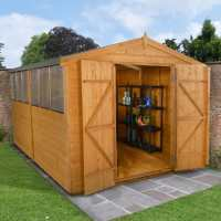 12ft x 8ft Forest Shiplap Apex Dip Treated Wooden Double Door Shed (2.46m x 3.72m)