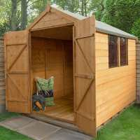8ft x 6ft Forest Shiplap Apex Dip Treated Wooden Double Door Shed (2.4m x 1.89m)