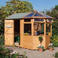 7ft x 10ft Rowlinson Wooden Garden Potting Storage Shed (2.04m x 3.14m)