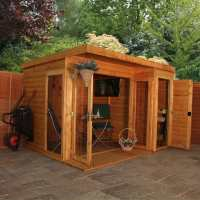 10x8 Windsor Contemporary Wooden Summer House / Garden Room With Side Shed