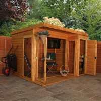 7ftx7ft (2.1x2.1m) Windsor Corner Shiplap Wooden Garden Summerhouse with Side Shed