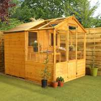 8ft x 6ft Windsor Traditional Shiplap Wooden Apex Greenhouse Combi Shed (2.45m x 1.97m)