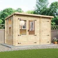 3.5x2.4m (11ftx8ft) Windsor Delamere 19mm Log Cabin with Side Shed