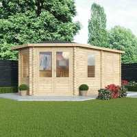 5x3m (16'x11') Alpine Aspen Plus LH 28mm Log Cabin with Side Shed