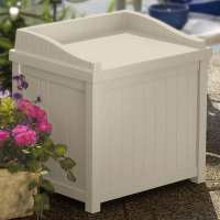 1ft11 x 1ft6  (0.57x0.45m) Suncast Resin Deck Box with Seat  - Light Taupe - Plastic Garden Storage
