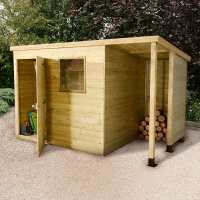 7ft x 5ft Shed-Plus Champion Heavy Duty Pent Shed - Single Door on Right with 3ft Logstore on Right (2.21m x 1.6m)
