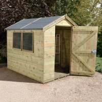 8ft x 6ft Shed-Plus Champion Heavy Duty Workshop with Logstore - Single Door (2.42m x 1.82m)