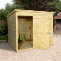 6ft x 8ft Shed-Plus Champion Heavy Duty Pent Shed - Single Door on Left with Logstore on Right (1.82m x 2.42m)
