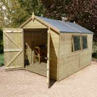 10ft x 8ft Shed-Plus Champion Heavy Duty Workshop with Logstore - Single Door (3.02m x 2.44m)