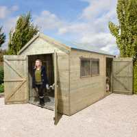 10ft x 8ft Shed-Plus Champion Combination Workshop / Log Store - Double Doors (3m x 2.4m)