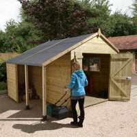 12ft x 8ft Shed-Plus Champion Heavy Duty Workshop with Logstore - Double Doors (3.63m x 2.43m)