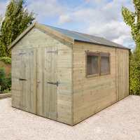 12ft x 8ft Shed-Plus Champion Combination Workshop / Log Store - Double Doors (3.63m x 2.44m)