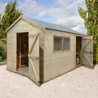 14ft x 8ft Shed-Plus Champion Combination Workshop / Log Store - Single Door (4.2m x 3.3m)