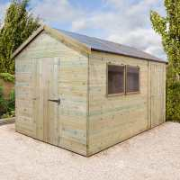 14ft x 10ft Shed-Plus Champion Combination Workshop / Log Store - Single Door (4.2m x 3.96m)