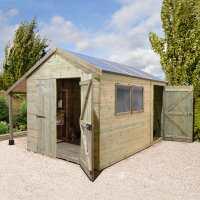 16ft x 8ft Shed-Plus Champion Combination Workshop / Log Store - Double Doors (4.8m x 2.4m)