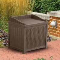 1ft11 x 1ft6 (0.57x0.44m) Suncast Resin Wicker Plastic Garden Storage Box with Seat