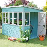 6ft x 8ft Shire Sun Pent Wooden Garden Potting Shed (1.94m x 2.58m)