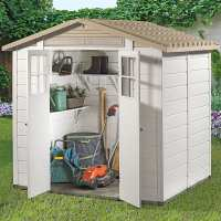 6ft6 x 5ft4 Shire Tuscany Evo 200 Apex Plastic Double Door Shed (2.02m x 1.62m)