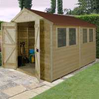10ft x 8ft Forest Tongue & Groove Apex Pressure Treated Wooden Double Door Shed (3.10m x 2.63m)