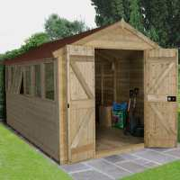 12ft x 8ft Forest Tongue & Groove Apex Pressure Treated Wooden Double Door Shed (3.91m x 2.62m)