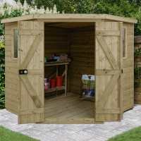 7ft x 7ft Forest Premium Tongue And Groove Pressure Treated Wooden Corner Shed (2.96m x 2.31m)