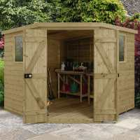 8ft x 8ft Forest Premium Tongue And Groove Pressure Treated Wooden Corner Shed (3.46 x 2.8m)