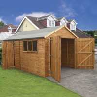 16' x 10' (4.88x3.05m) Traditional Deluxe Wooden Garage / Workshop Shed
