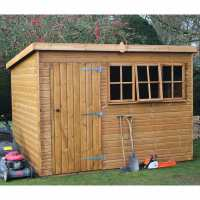 8ft x 8ft Traditional Heavy Duty Pent Wooden Garden Shed (2.44m x 2.44m)
